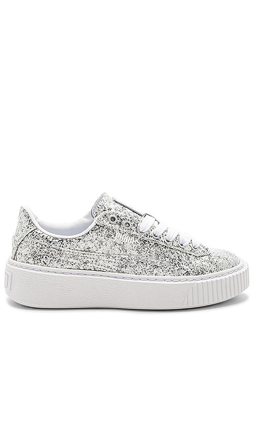 Puma Basket Platform Glitter Sneaker in Metallic Silver