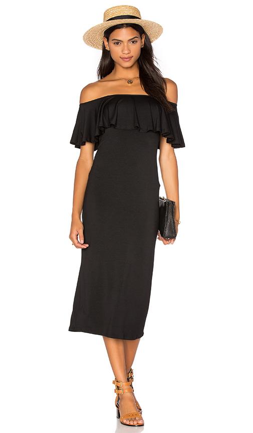 Rachel Pally Ruffle Midi Dress in Black. - size L (also in M,S,XS)