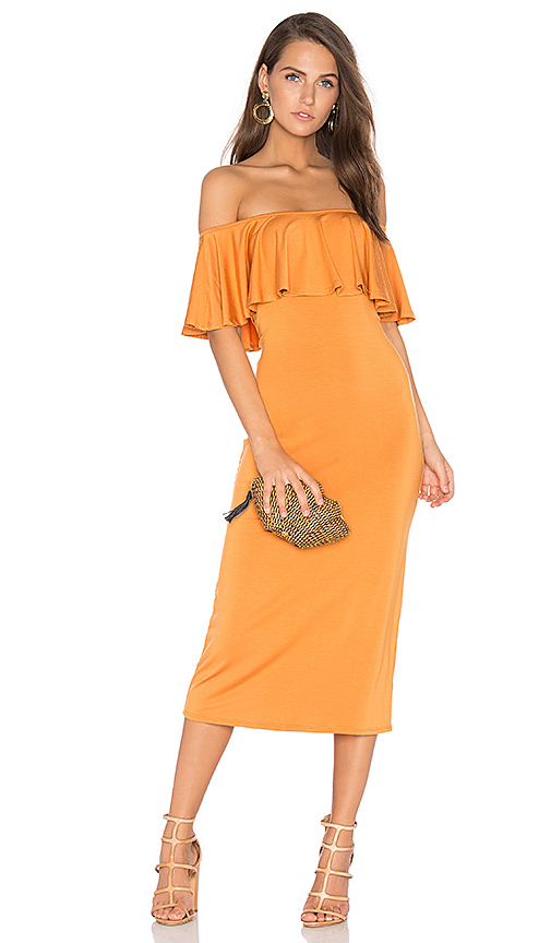 Rachel Pally Ruffle Midi Dress in Orange. - size M (also in S,XS)