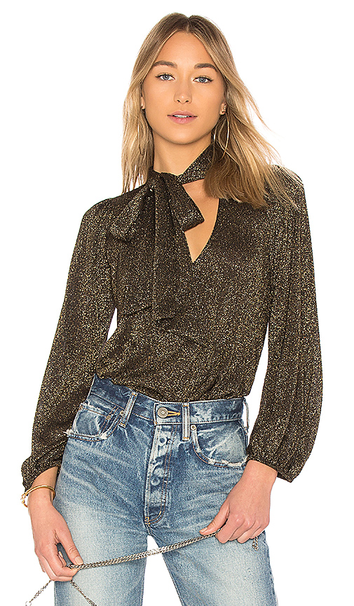 Rachel Pally Scarf Tie Sweater Top in Metallic Gold. - size S (also in L,XS)