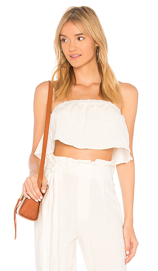 Rachel Pally Linen Strapless Flutter Top in Ivory