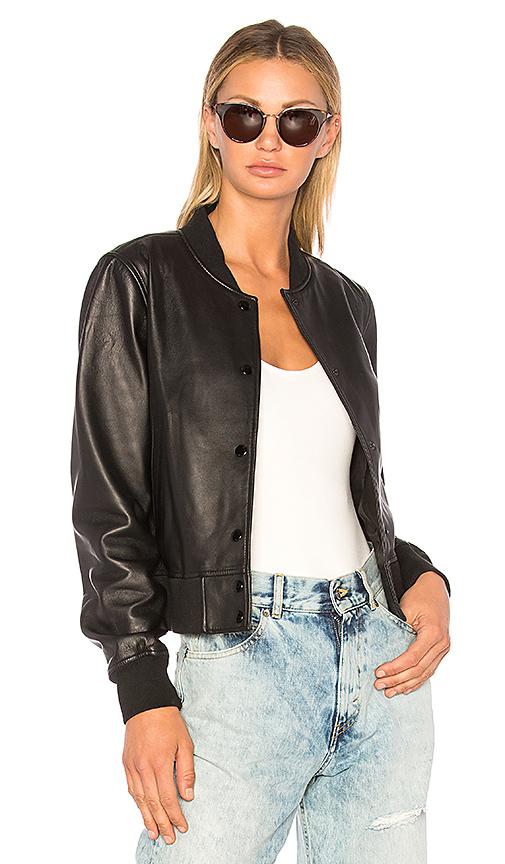 rag & bone/JEAN Cooper Leather Bomber Jacket in Black
