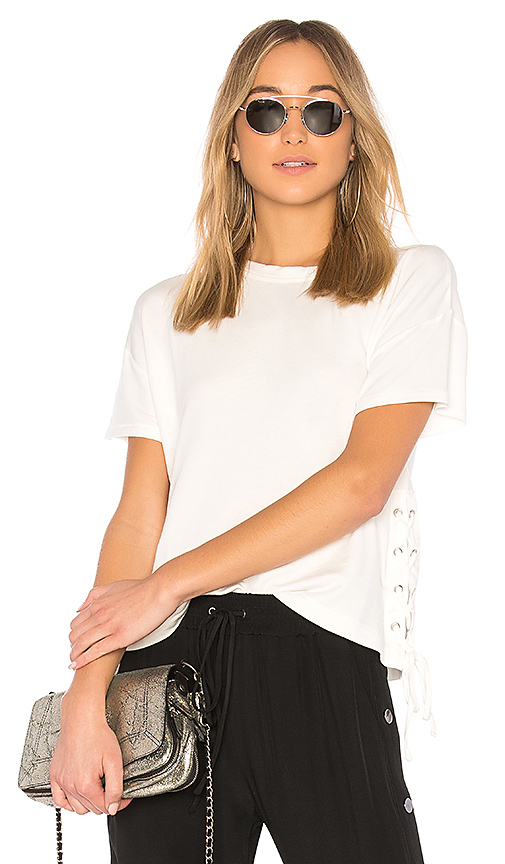 rag & bone/JEAN Lace Up Tee in White