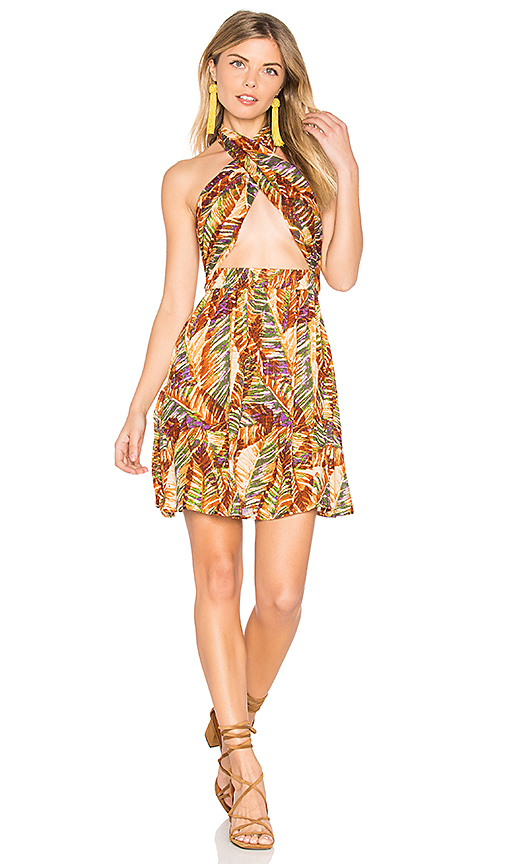 Raga Paradise Peak Wrap Halter Dress in Brown. - size L (also in M,S,XS)