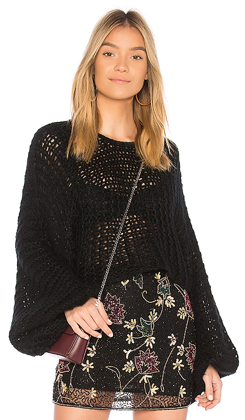 Raga Candace Crochet Knit Sweater in Black. - size L (also in M,S,XS)