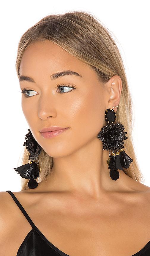 Ranjana Khan Multi Tassel Earring in Black