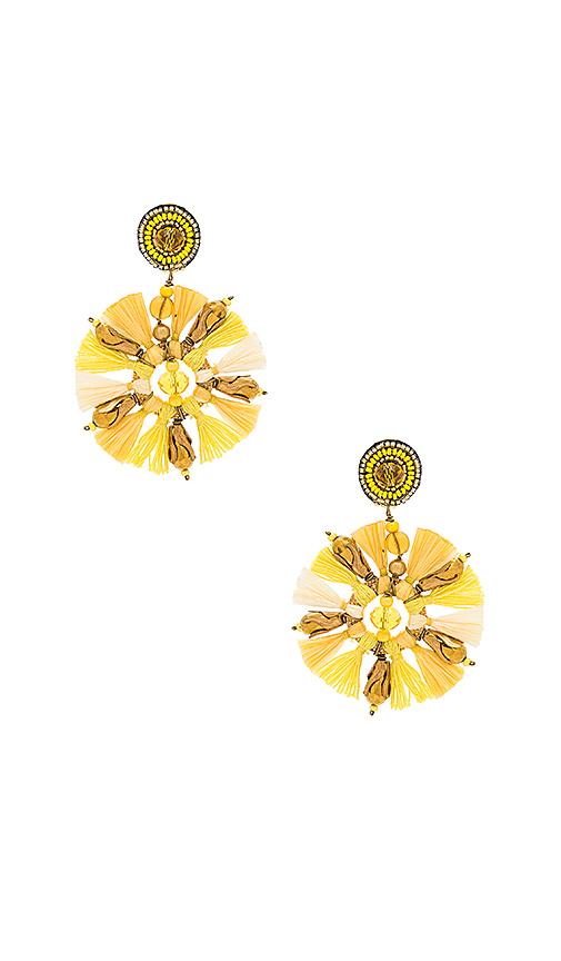 Ranjana Khan Circle Tassel Earring in Yellow.