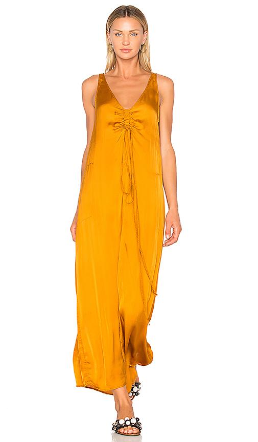 Raquel Allegra Cinched Tie Dress in Mustard
