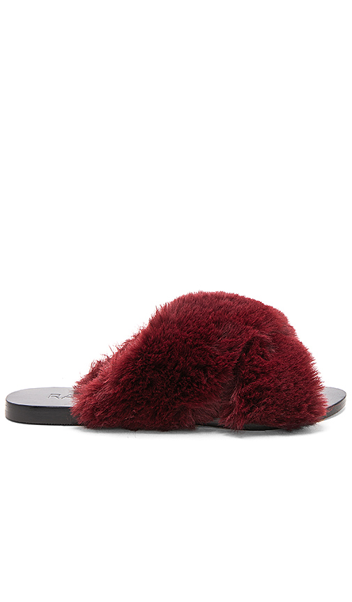 RAYE Sid Faux Fur Slide in Burgundy