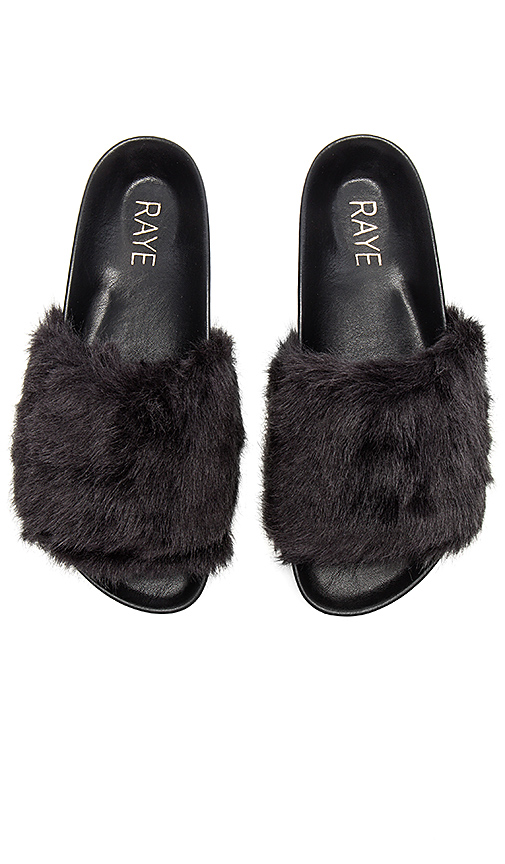 RAYE Sirius Faux Fur Slide in Black