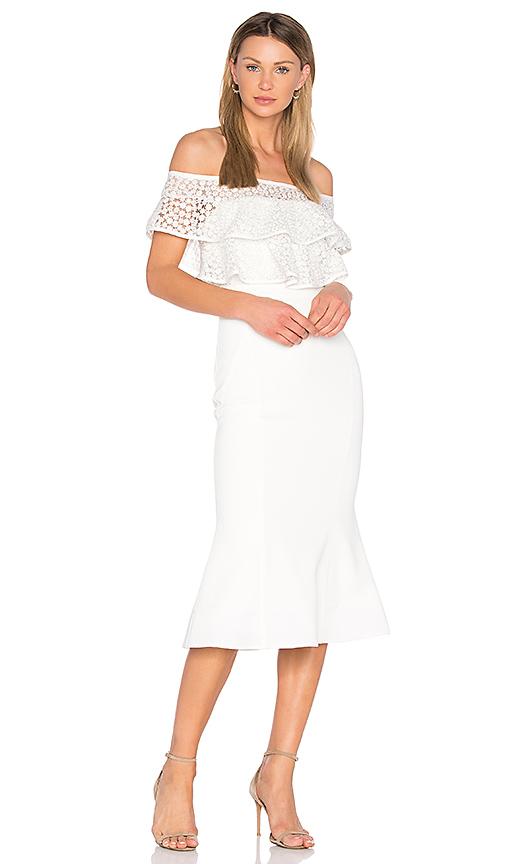 Rebecca Vallance Farina Flare Midi Dress in White