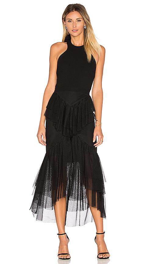Rebecca Vallance Orlando Bow Back Ruffle Dress in Black. - size 10/M (also in 12/L)