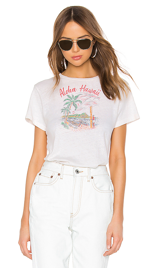 Re/done Tops RE/DONE ALOHA CLASSIC TEE IN WHITE.