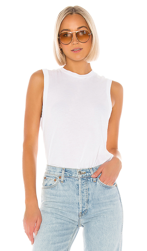 Re/done Tops RE/DONE 70S LONG MUSCLE TEE IN WHITE