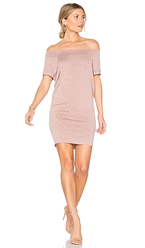 Riller & Fount Dwight Off Shoulder Tunic Dress in Pink. - size 0 / XS (also in 1 / S)