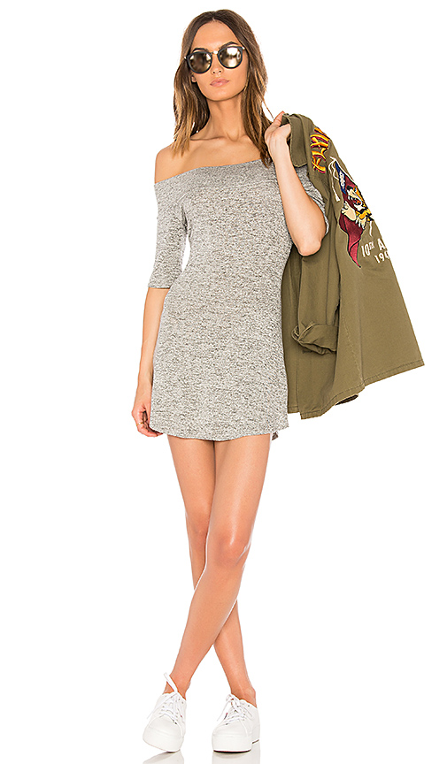 Riller & Fount Toni Off the Shoulder Dress in Gray