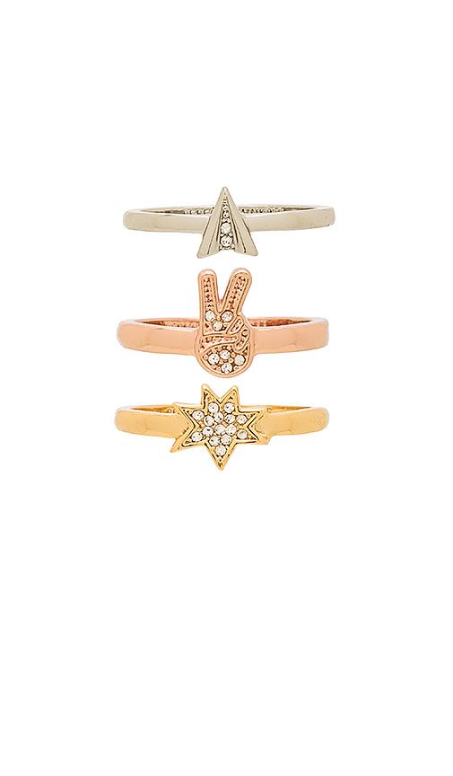 Rebecca Minkoff Charm Ring Set in Metallic Gold.