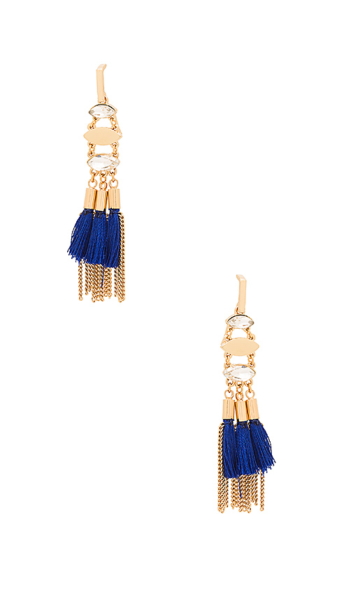 Rebecca Minkoff Tassel And Fringe Chandelier Earring in Blue