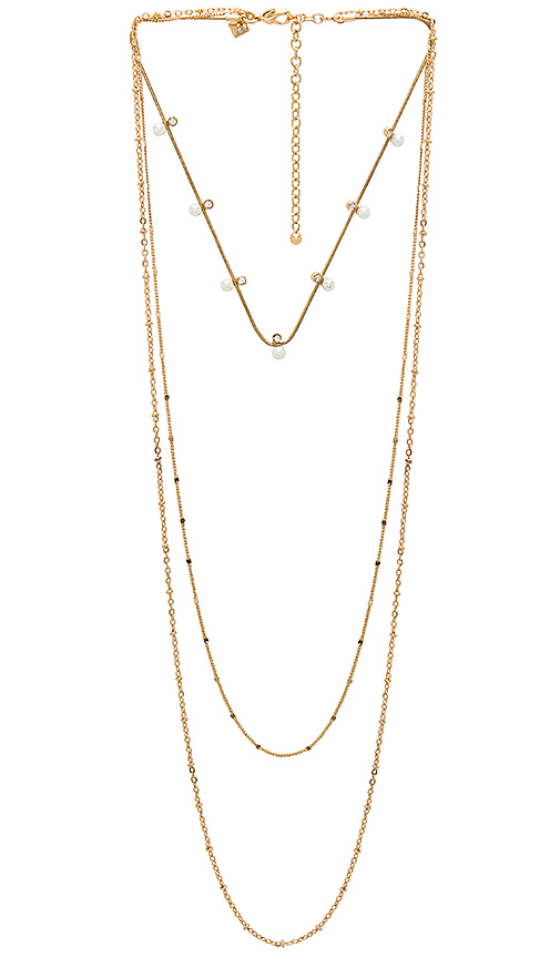Rebecca Minkoff Pearl and Stone Necklace in Metallic Gold.
