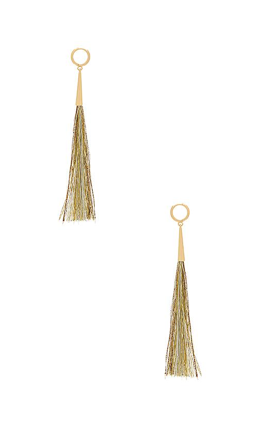 Rebecca Minkoff Long Tassel Earrings in Metallic Gold