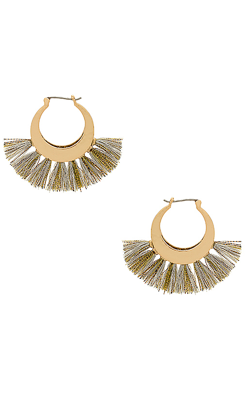 Rebecca Minkoff Palm Tassel Hoop in Metallic Gold