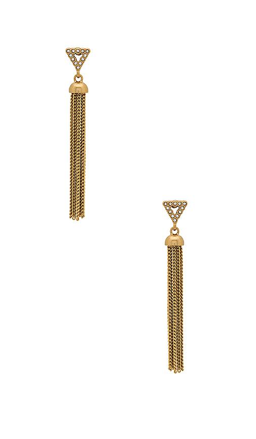 Rebecca Minkoff Triangle Tassel Earrings in Metallic Gold