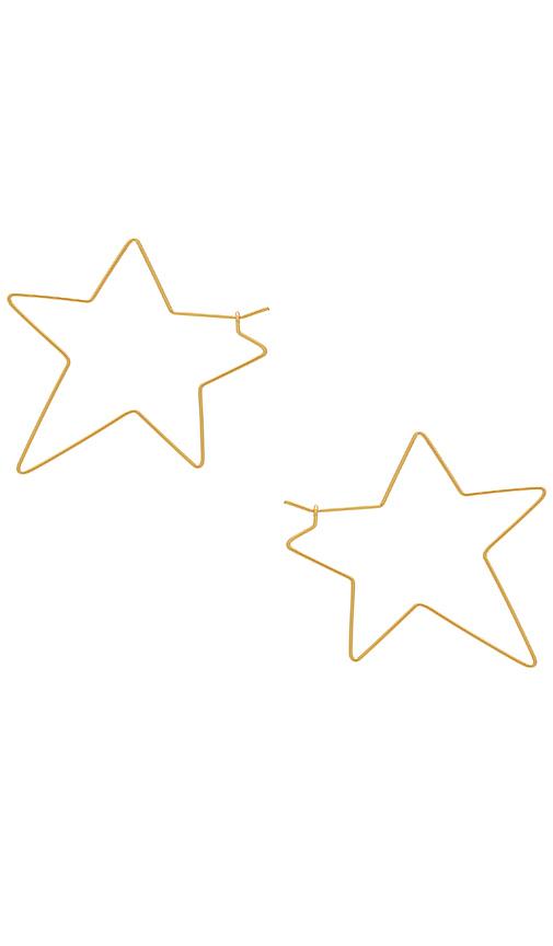 Rebecca Minkoff Super Star Hoop Earrings in Metallic Gold