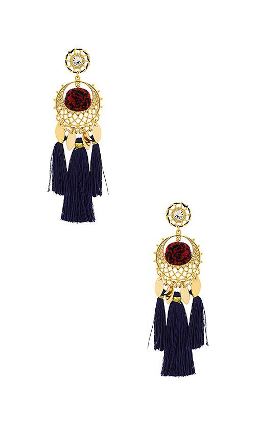 Rebecca Minkoff Tassel and Pom Earrings in Metallic Gold