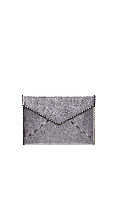 Rebecca Minkoff Leo Clutch in Metallic Silver