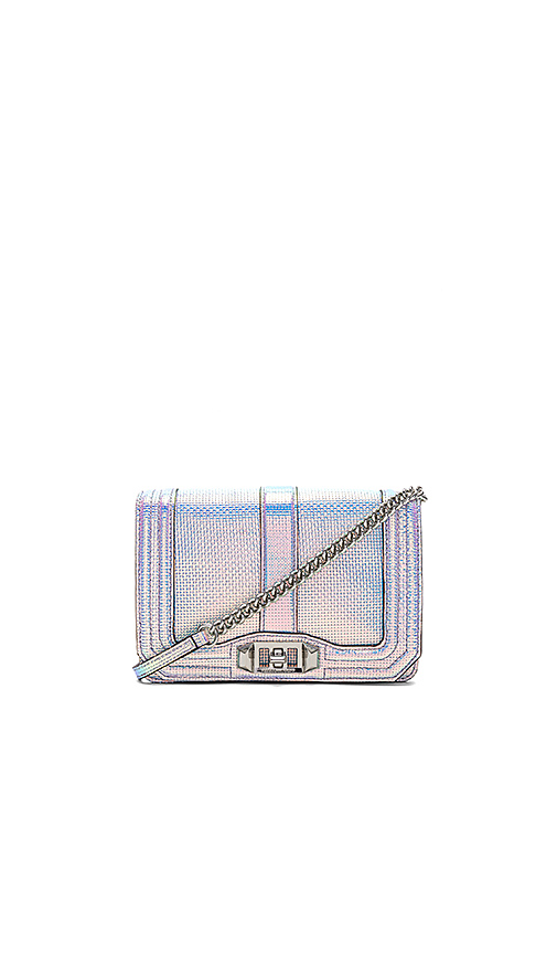 Rebecca Minkoff Hologram Small Love Crossbody in Metallic Silver