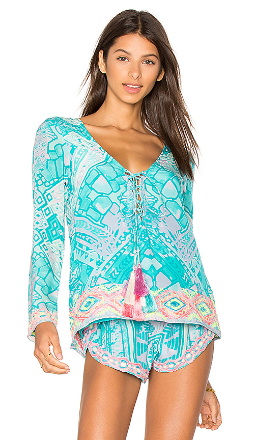 ROCOCO SAND Embroidered Top in Blue