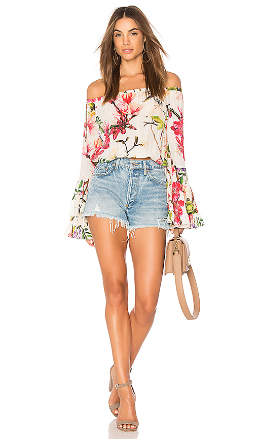 ROCOCO SAND Bell Sleeve Crop Top in Cream