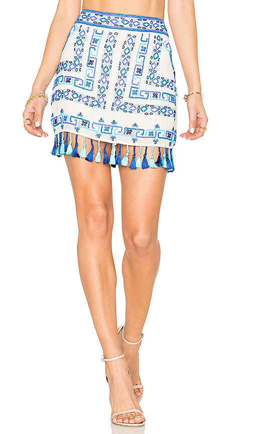 ROCOCO SAND Fringe Mini Skirt in White. - size L (also in M,XS)