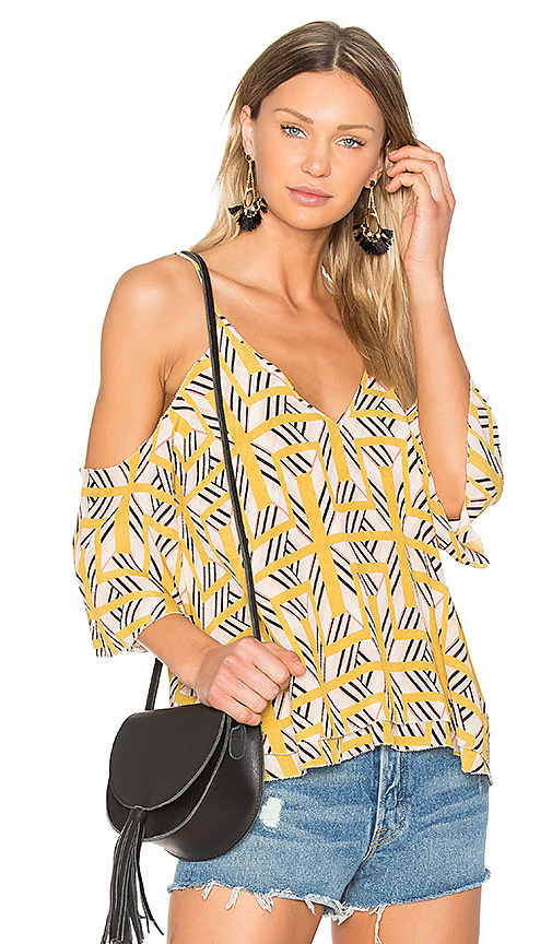 ROI Cold Shoulder Swing Top in Mustard