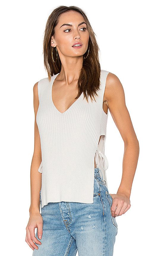 ROI Side Tie Shell Top in White