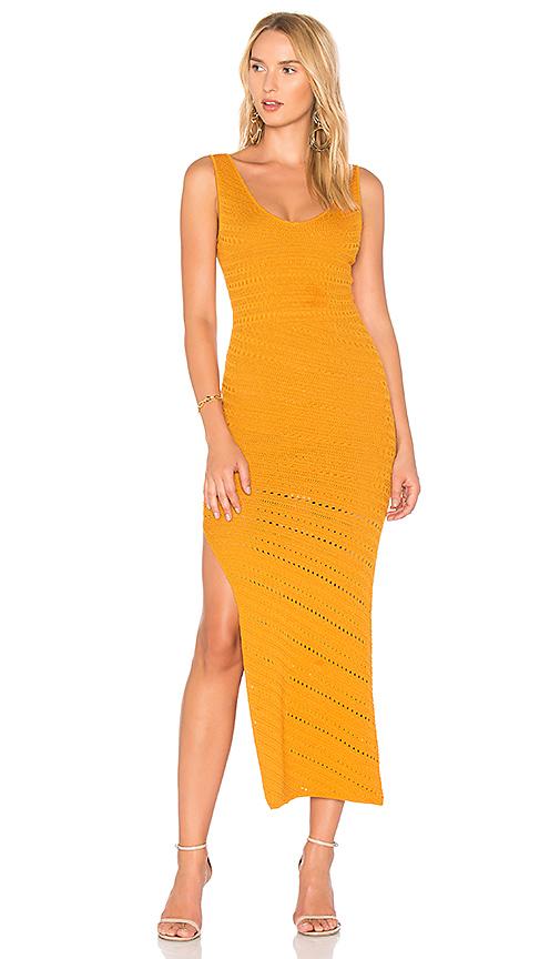 Ronny Kobo Ciera Bias Crochet Dress in Mustard. - size L (also in M,S,XS)