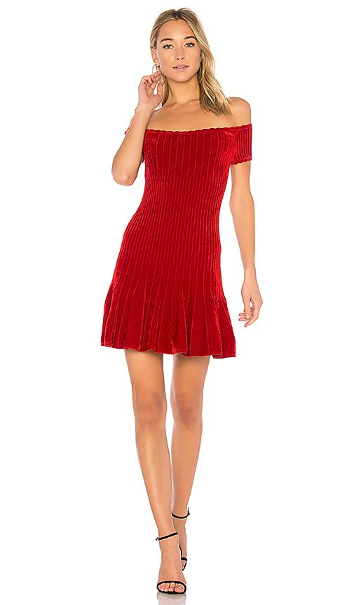 Ronny Kobo Karin Chenille Raised Short Row Dress in Red