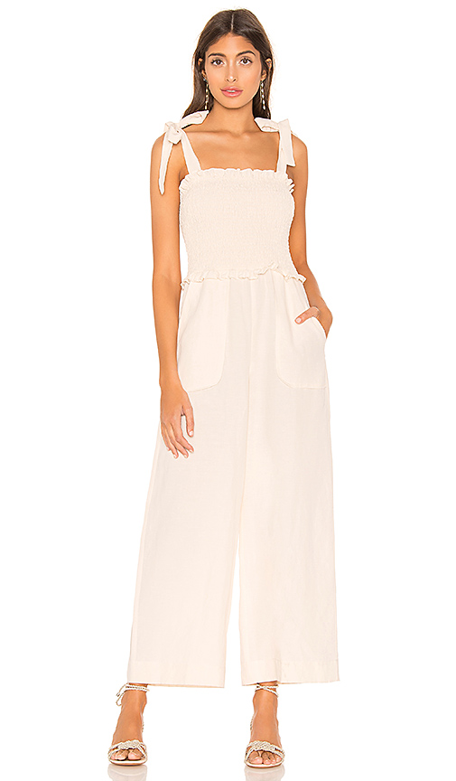Rebecca Taylor Smocked Wide-Leg Jumpsuit In Cream