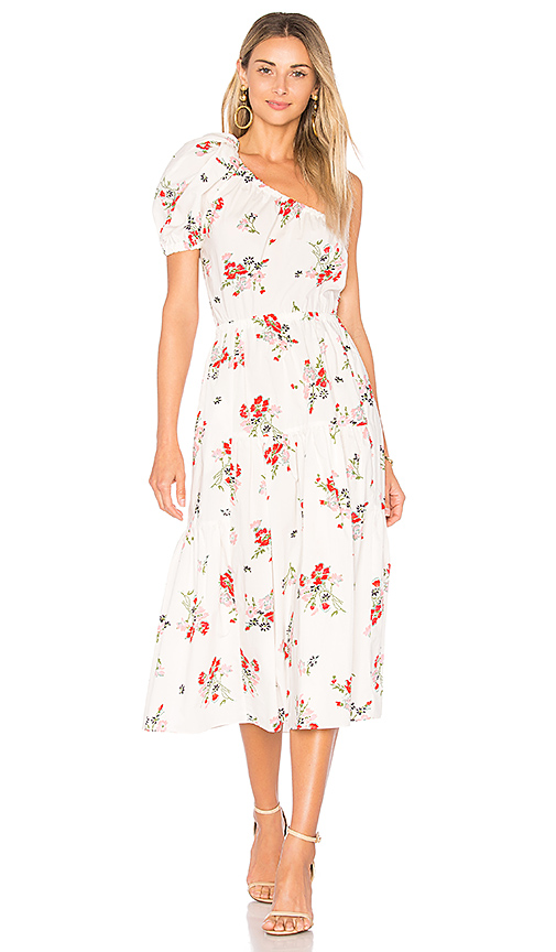 Rebecca Taylor Marguerite One Shoulder Dress in White