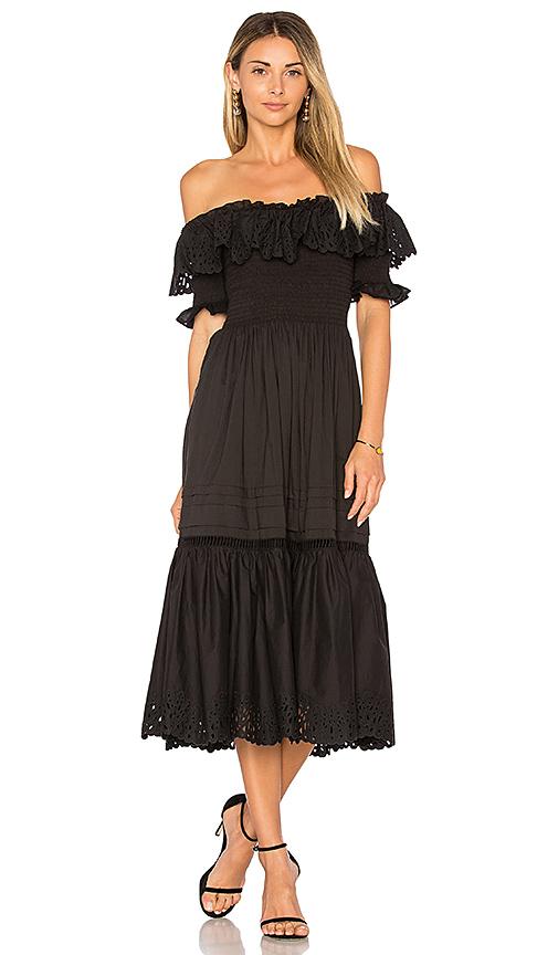 Rebecca Taylor Off Shoulder Nouveau Eyelet Dress in Black