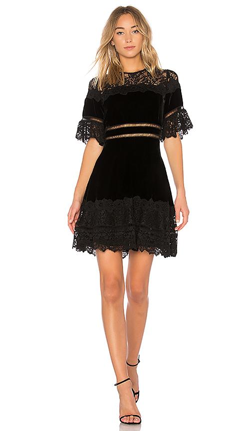 Rebecca Taylor Velvet & Lace Dress in Black