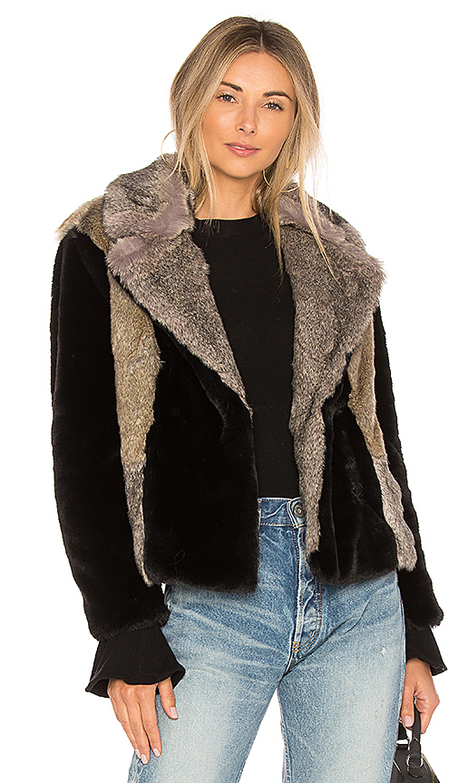 Rebecca Taylor Patched Faux Fur Jacket in Black
