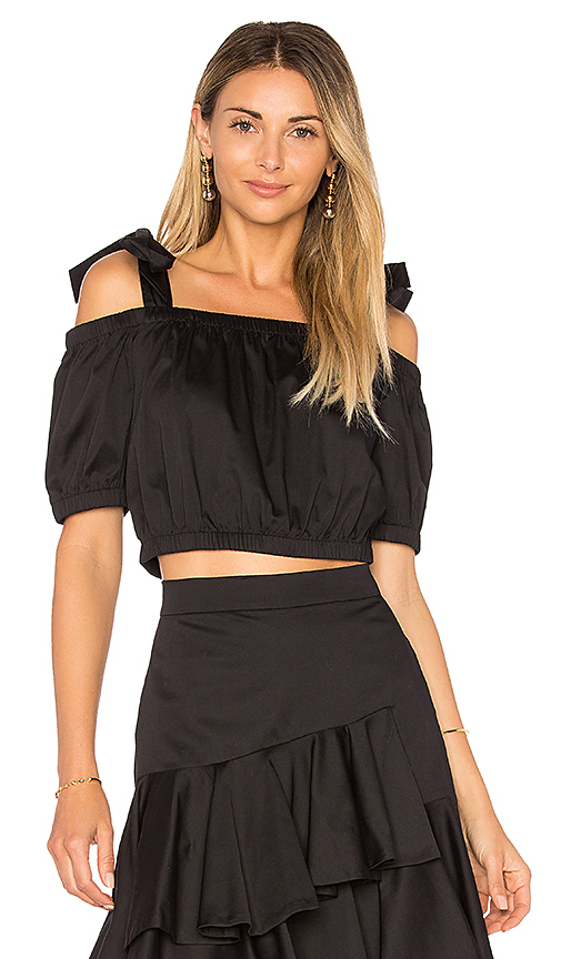 Rebecca Taylor Tie Top in Black