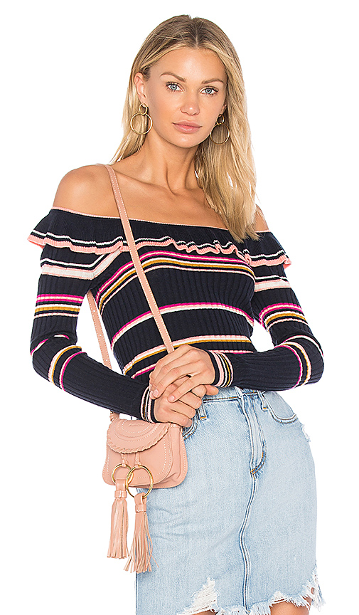 Rebecca Taylor Striped Ruffle Top in Navy