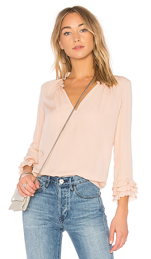 Rebecca Taylor Ruffle Blouse in Pink. - size 4 (also in 2)