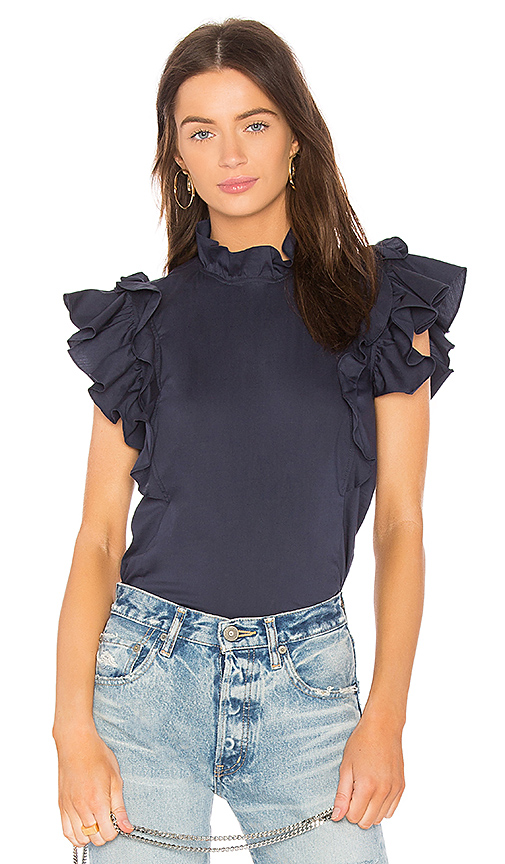 Rebecca Taylor Sateen Ruffle Top in Navy