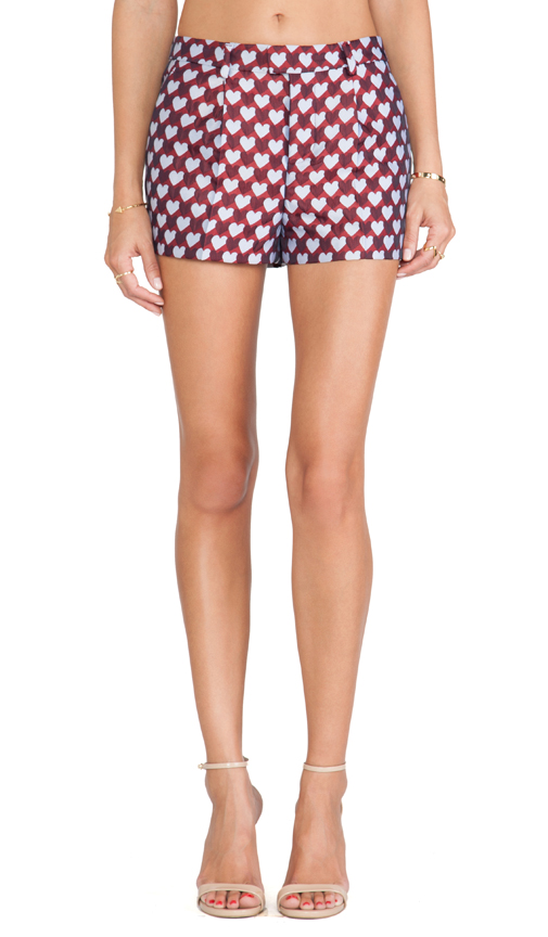 Red Valentino Jacquard Hearts Shorts in Red