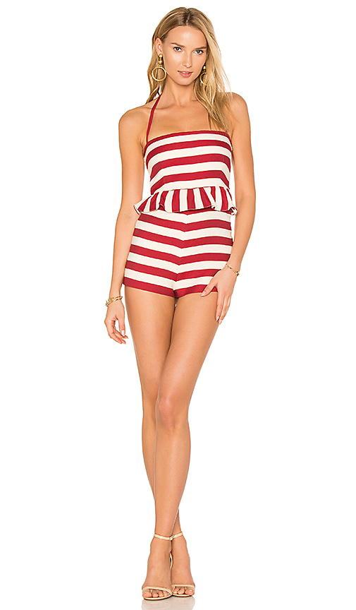 Red Valentino Waist Ruffle Romper in Red. - size 38/XS (also in 40/S)