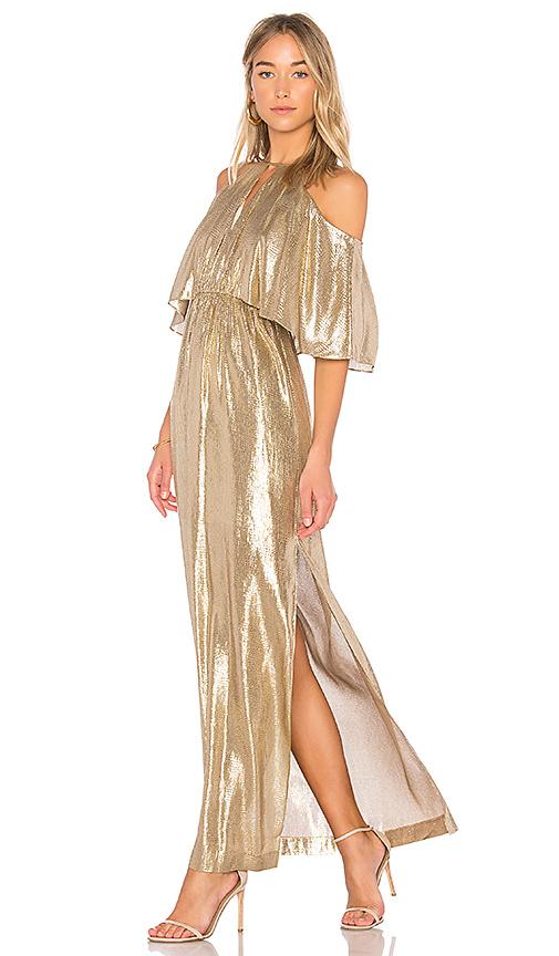 RACHEL ZOE Marlene Open Shoulder Gown in Metallic Gold