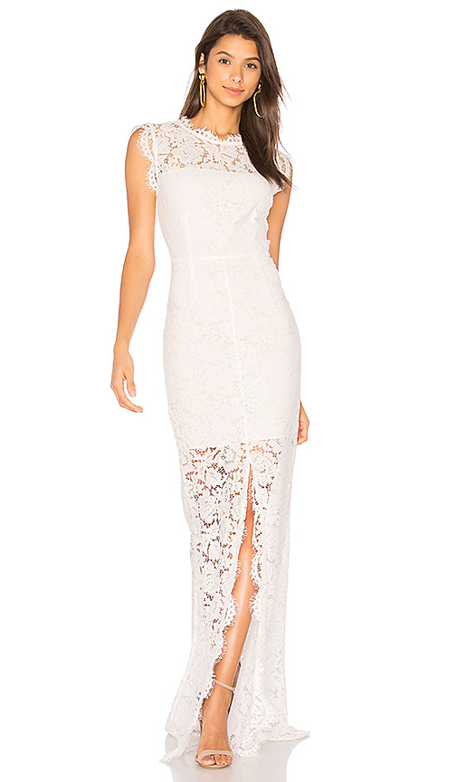 RACHEL ZOE Estelle Cut out Back Maxi Dress in White